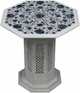 """18"""" White Marble Table Top Pauashell Marquetry Floral Inlay With Stand Deco W471"""