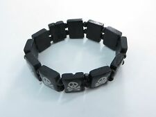 US SELLER-gothic biker jewelry pirate skull wooden stretchy bracelets wristband