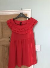 Top shop Red Frilled Neck Top Size 12 Vintage Style Sleeveless
