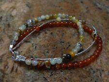 Three strand Sterling Silver & Multi Gemstone Bracelet 7.5""