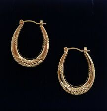 Fine Patterned Creole Earrings 375 (9ct) Yellow Gold - Length 25mm - 1.0g