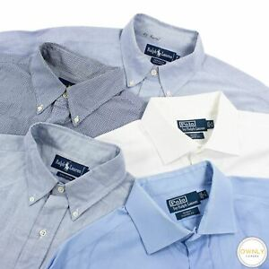 LOT OF 5 Polo Ralph Lauren Blue White Cotton Oxford Checked Dress Shirt 17US