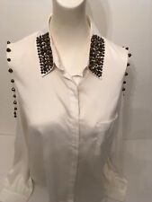 Ladies Sleeveless shirt Size L by Rehab With Collar Highly Decorated with Studs