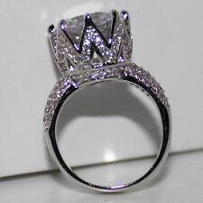 Lady's Big Round White Topaz CZ Paved 925 Sterling Silver Eternal Wedding Ring