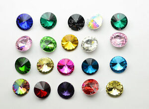 8mm Glass Crystal Rhinestone Color Rivoli Strass Jewels stones 100 PCS