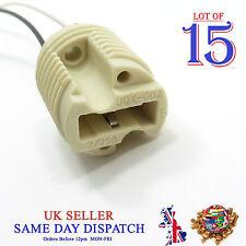 15x G9 Base Ceramic Socket Lamp Holder Cable Halogen LED Bulb Light Fitting
