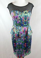 En Focus Studio Dress Sz 12 Floral Fitted Polyester Sweetheart Black Mesh Tea