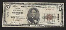 Biddeford, Maine, Charter #1089, $5.00, 1929 T-1, Fine, 43 Reported!