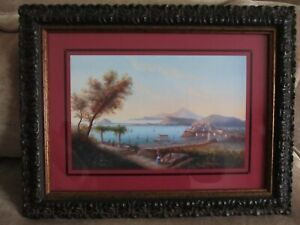 """A SMALL PRINTED PICTURE OF OLD ITALY, WITH VESUVIUS IN THE BACKGROUND. 14"""" X 11"""""""