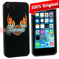 Licensed Harley Davidson Flames Logo Snap On Cover Case for Apple iPhone 5 5S