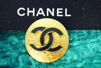 1 ONE Stamped  CHANEL Buttons 1 pieces black  gold  25 mm 1 inch💋 cc