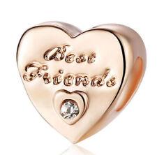 Rose Gold 1pcs CZ European Charm Heart Beads For 925 Bracelet Necklace chain