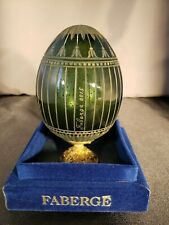 Vintage signed & numbered Faberge green glass egg in original box