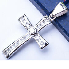 """Russian CZ Cross .925 Sterling Silver Pendant 1.5"""""""