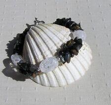 "Blue Tiger Eye & Crackled Clear Quartz Crystal Gemstone Bracelet ""Venetian Dew"""