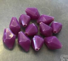 Vintage Japan Yummy Purple Marquise Kite Faceted Biconic Lucite Bead Lot