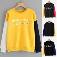 Women Long Sleeve Color Block Letter Print O-Neck Sweatshirt Pullover Top Blouse