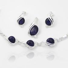Silber 925 SchmuckSet mit Blaufluss und Zirkon Anhänger, Ohrsteck, Armband