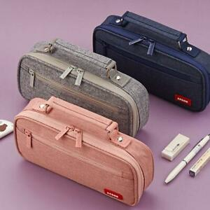 ANGOO Pencil Case Canvas Double Layer Large Capacity Multi-Function