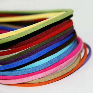 3mm Braided Cord Leather DIY Handmade Beading Bracelet Making Flat String Rope#