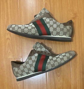 Vintage Authentic Gucci Guccisima Sneakers Size 11 Monogram Brown W/O Laces