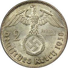 ORIGINALE monnaie en ARGENT NAZI Allemandes Adolf HITLER 3e Reich WW2 39-45