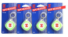 4x Retractable Mini Pocket Tape Measure Measuring Keychain Hard 3ft 1.8m cm&in