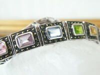 "Chunky Sterling Silver 925 Multi Rainbow Gemstone Marcasite Bracelet 7.75"""