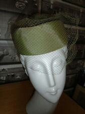 original pillbox 1950s hat vntg Jacquie occasion rockabilly formal veil green