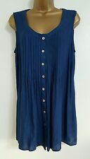 NEW Ex M&Co ANYA MADSEN Plus Size 16-30 Blue Pleated Sleeveless Tunic Top Blouse