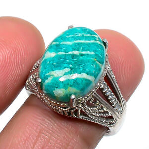 African Amazonite & Cz Gemstone 925 Sterling Silver Jewelry Ring s.Ad T8681