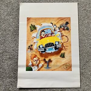 The Disney Store Exclusive Goofy Car Lithograph Print Poster Collectable Rare