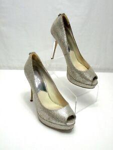 MICHAEL Michael Kors Silver Glitter 6.5 M York Platform Peep Toe Stiletto Heel