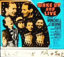 "Orig. Glass Slide - ""Wake Up & Live"" - ALICE FAYE - JACK HALEY - WINCHELL - 1937"