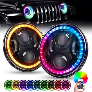 """FOR JEEP GQ PATROL TOYOTA 7"""" INCH LED HEADLIGHTS RGB HALO HIGH OUTPUT PROJECTOR"""