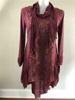 NWT PRETTY ANGEL 3 PC LINEN LAYERED VINTAGE BOHO CHICKNIT TUNIC TOP DRESS  BURG.