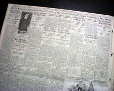 EDDIE CASEY Harvard University Crimson Football Head Coach 1930 Old Newspaper