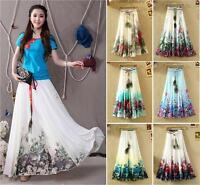 Womens Boho Painting Peacock Feather Beach Maxi Elastic Waist Long Pleated Skirt