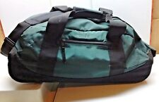 L.L. Bean Adventure Nylon Green Rolling Shoulder Duffle Luggage Carry All On Bag