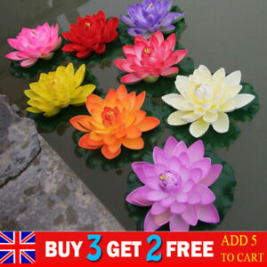 18cm Artificial Lotus Water Lily Flowers Real Touch Floating Plant Swimming Pool