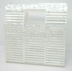 Retro White Acrylic Handbag - Lucite Slats Tote Square Pearlized Marbled Funky
