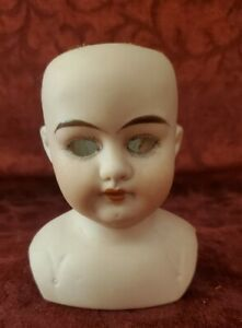 Antique German Bisque Doll Shoulder Head Alma TLC No Eyes Open Mouth