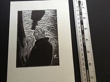 1930s Art Deco Woodcut print by Lynd Ward of a couple and the shadow of death