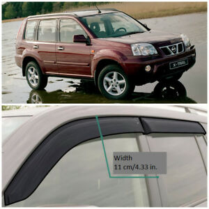 NE11701 Window Visors Sun Vent Wide Deflectors For Nissan X-Trail T30 2001-2007