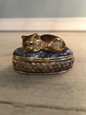 Monet Trinket Box Sleeping Cat on Pillow Basket Hinged Magnetic Closure Collect