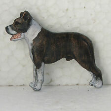 American Staffordshire Terrier Brindle White Neck Brooch Dog Breed Jewellery