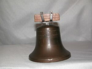 Vintage Proclaim Liberty Bell Still Bank Cast with Wooden Top