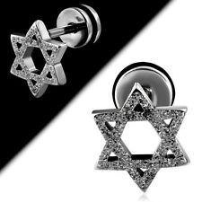 Fake Plug Ear Piercing Studs Earrings Star of David Stainless Steel 1 Piece