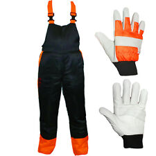 Chainsaw Bib Brace Large 34/38 Class A 20m/s + Forestry Safety Gloves Padded