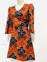 Brown Black Geometric Print Party Cocktail Dress size 10